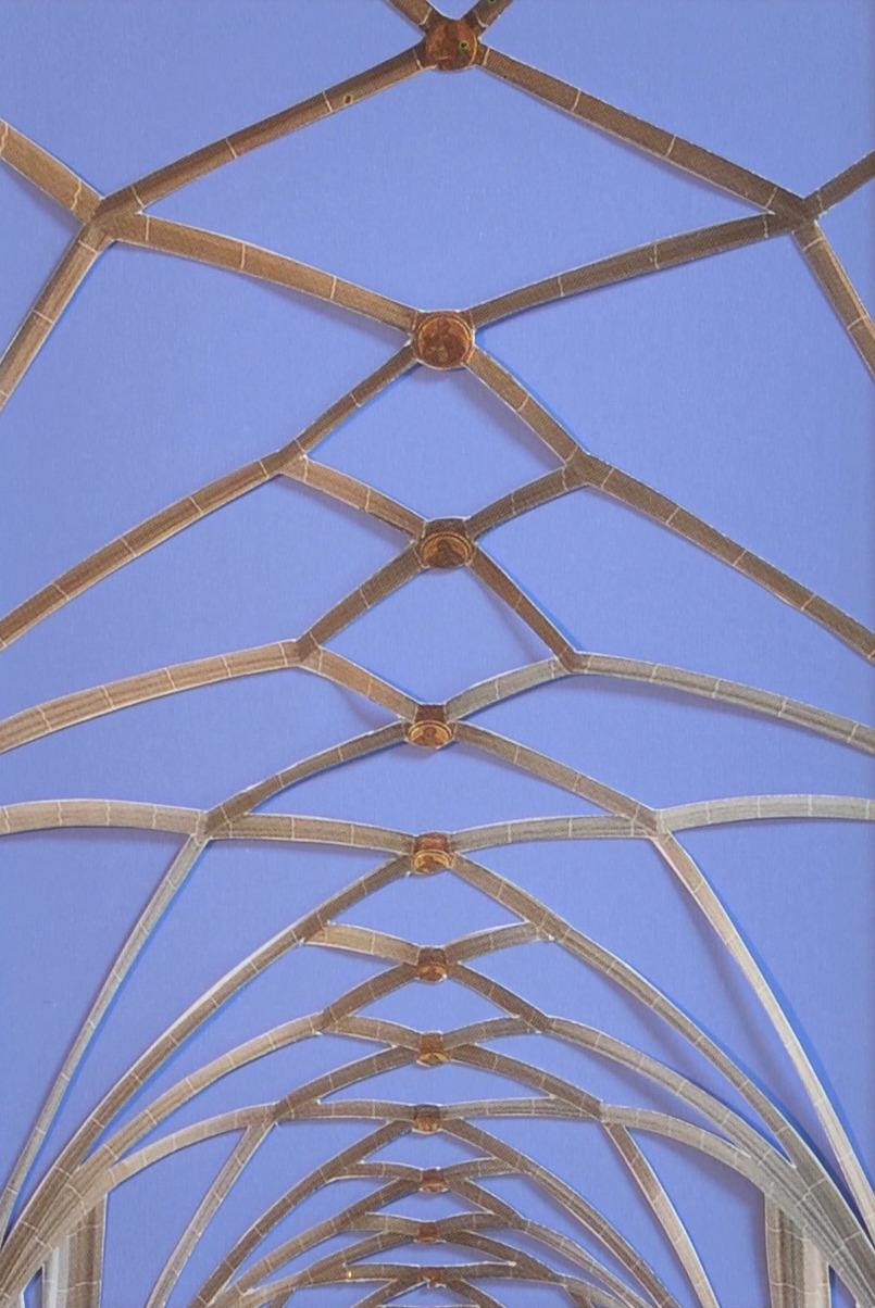 Kreuzrippengewölbe (blau), Papierschnitt, 2020