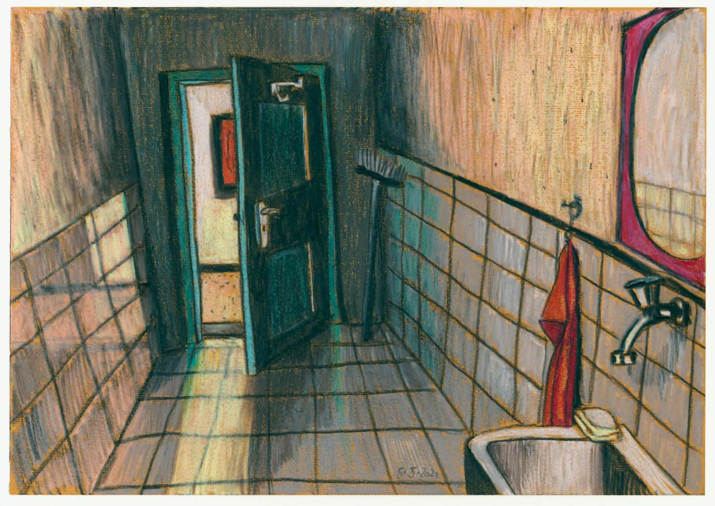 Toilette, 2021, Kreide auf Papier