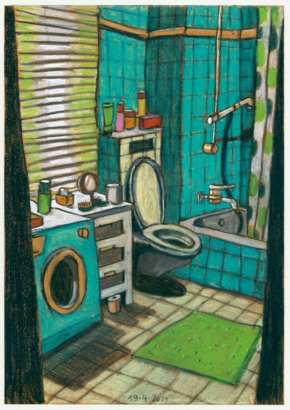 Waschmaschine 2, 2021, Kreide auf Papier